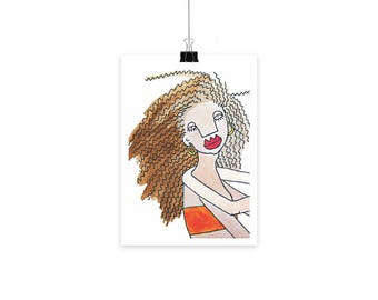 Natural hair art-  face print- ink and watercolor print contemporary art print- modern art print
