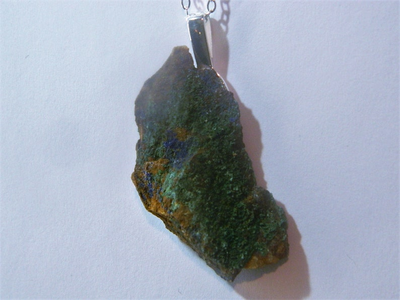 mounted silver 925 Fragment of raw azurite in its gangue