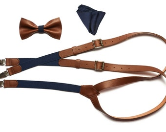 christmas gifts for him Set of Leather braces wedding suit wedding suspenders bowtie,handkerchief christmas gifts for boyfriend