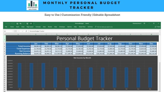 monthly personal budget tracker budget planner personal etsy