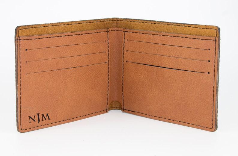 Custom Personalized Brown Wallet Birthday Gift for Husband Vegan Cruelty Free Leather John Lennon Laser Engraved Wallet for Men