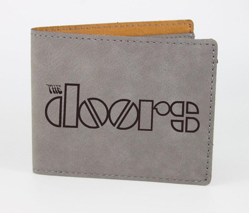 Vegan Leather Gift The Doors Laser Engraved Mens Wallet Birthday Gift Husband Custom Personalized Wallet Faux Leather Mens Wallet