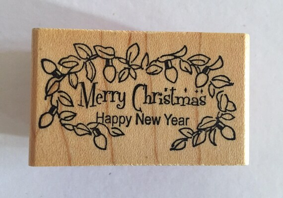 merry christmas rubber stamp holidays diy card hawaiian lei etsy