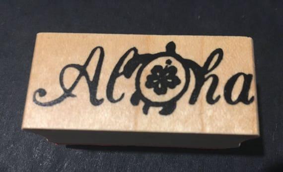 aloha rubber stamp hawaiian turtle aloha stamp stampin up etsy