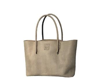 Big leather bag shopping bag shopper bag used look handmade