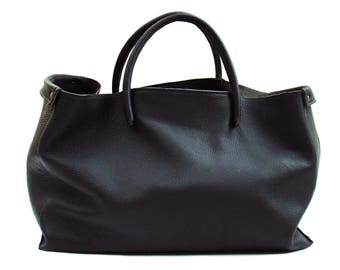 large leather bag black extra thick, soft, grained leather Weekender. Handmade