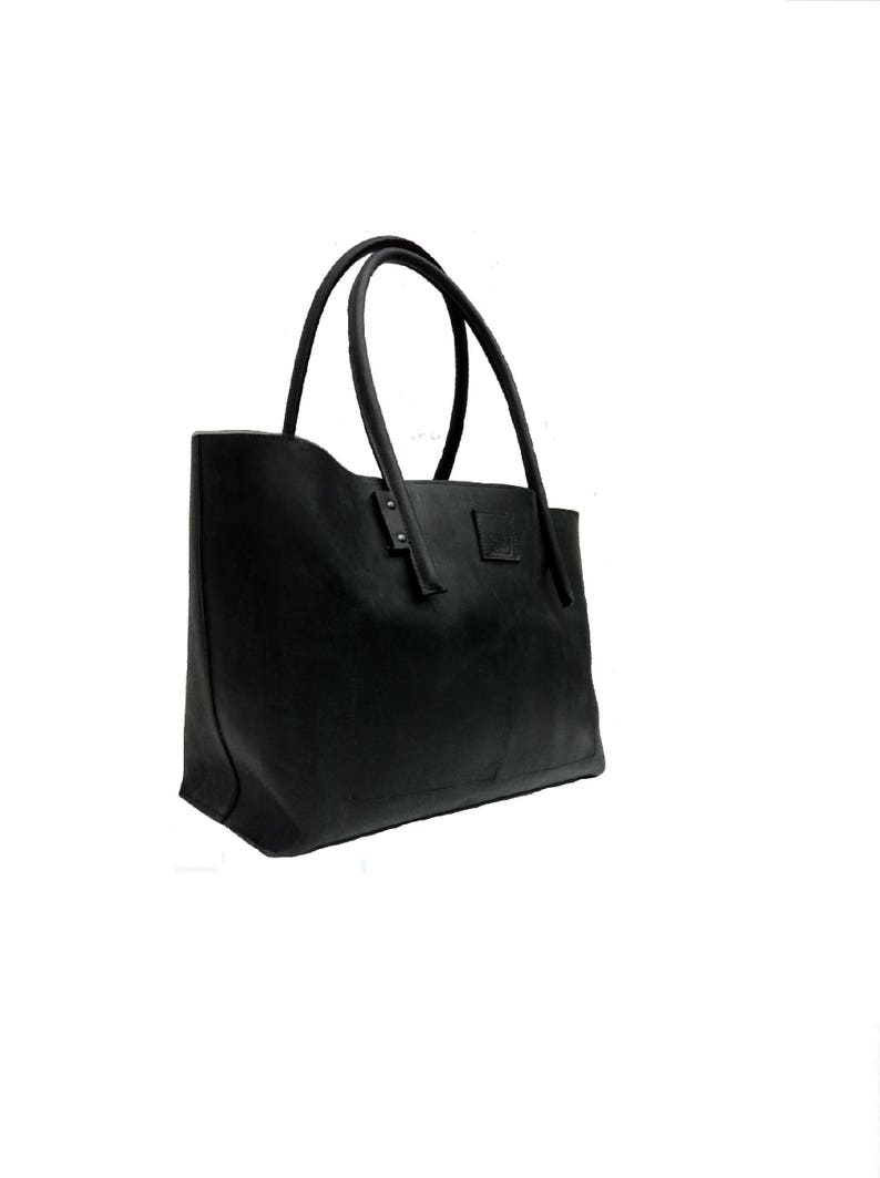 e68eb90ea6 Noir cuir grand sac semi-rigide en cuir de Weekender sac | Etsy