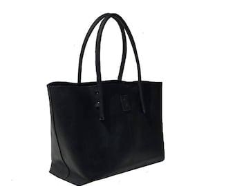 Black large leather bag shopping bag shopper Ledershopper Leather Shopper bag bag used look handmade