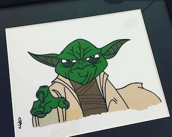 Yoda Star Wars Custom Made Animation Cel Clone Wars