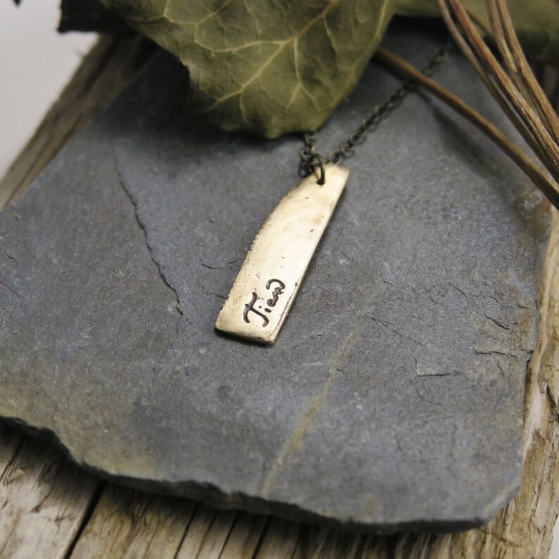 Unique gifts Engraved Handwriting necklace Custom name necklace Mother gift Personalized bar necklace Rustic Bronze Necklace