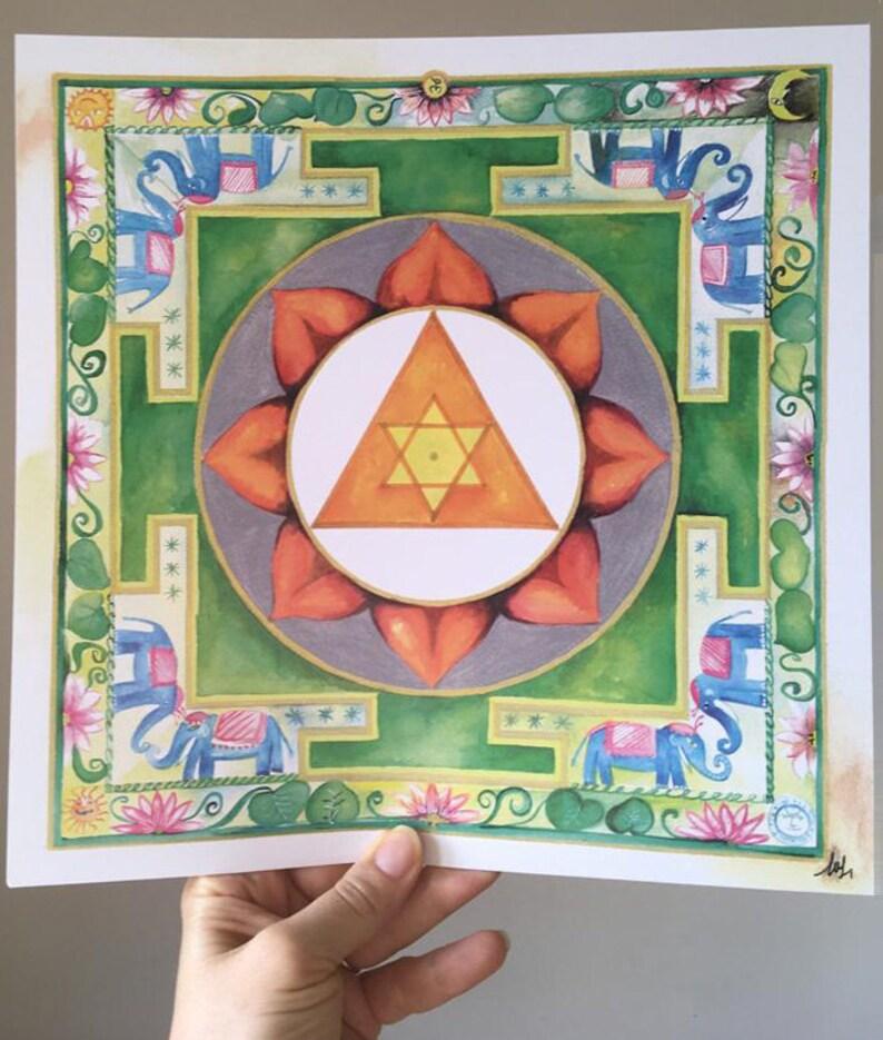 Ganesh Yantra for meditations yoga  Ganapati Deva yantra  stampa digitale 28,5 cm