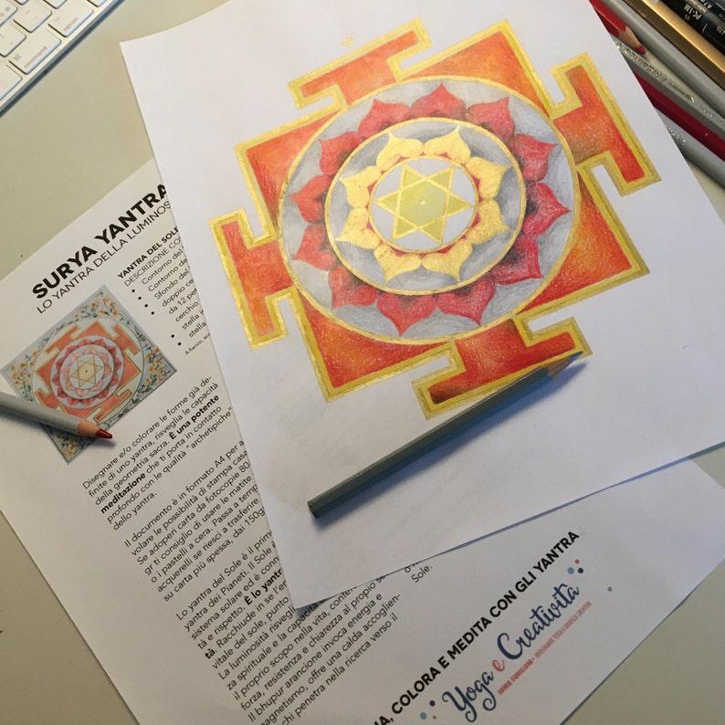 Surya yantra  Meditation Adult Coloring Yantra in A4  Yantra image 0