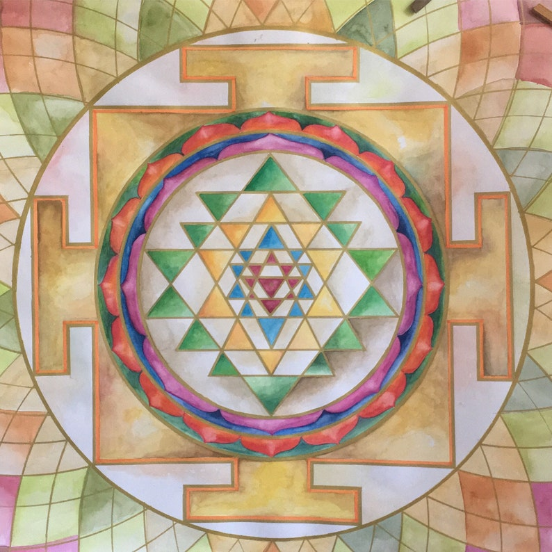 Yantra Shakti Deva for meditation yoga watercolours hand made image 0