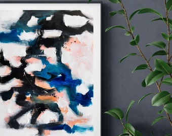 Blue wall art, Contemporary painting, Blue black abstract painting, Original abstract art