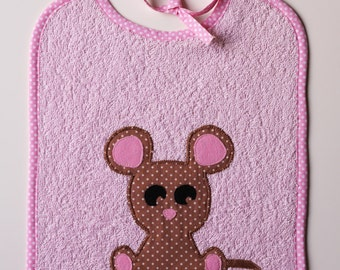 Bib mouse Oekotex pale pink cotton