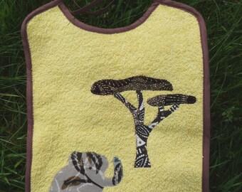 Bib Elephant Oekotex yellow cotton