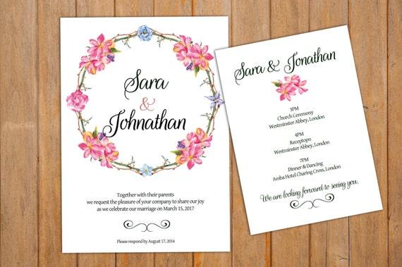 printable wedding invitation program card printable etsy
