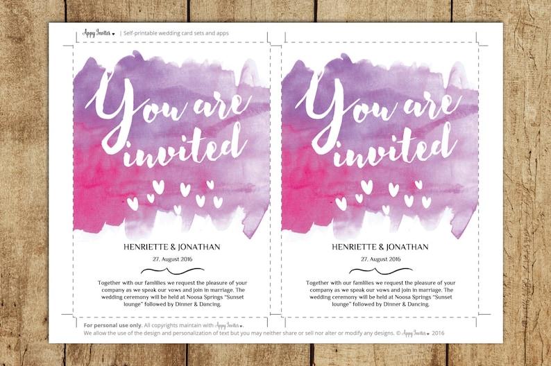 Printable Wedding Invitation Set PDF Instant Download Save The Date Card Wedding Invitations Editable RSVP Card Invitation Suit Pink