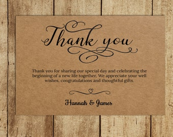 Rustic Thank You Card, Thank You Card Template, Printable Thank You, Wedding Thank You, PDF Instant Download, Editable PDF, Rustic Theme