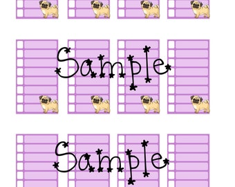 Lilac Pug cute Printable planner stickers erin condren life planner mambi happy