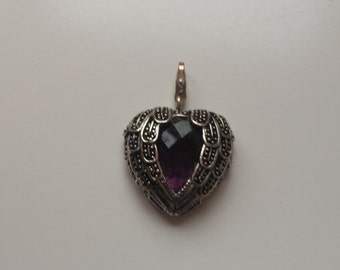 Purple feather heart pendant charm silver