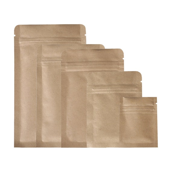 C218- Thick Brown Kraft Paper Silver Lining Inside Sample Size Zip Lock  Flat Bags (100 Bags/Pack)