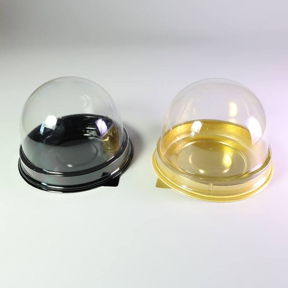 50/100 Mini Bite Size Clear Dome Black Gold Base Tart, Macaroon, Cupcake,  Muffin Pastry Container Pod w/ Free Random Color Bite Size Liner