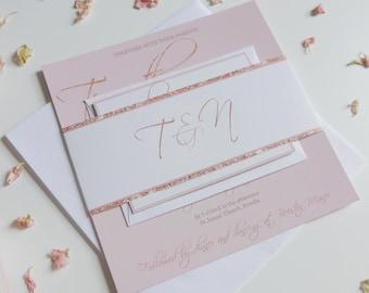 Rose Gold and Blush Wedding Invitation set, Wedding Invite, RSVP, Faux Glitter