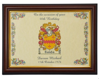 Birthday Family Crest / Coat of Arms Personalised Framed Print