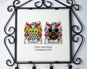 Family Crests Personalised Wall Plaque with Key Hooks