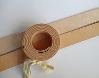 "3.6-4mm. / 9-10oz Veg Tanned Natural Leather Belt Blank Strip Strap Band. 51-55"" or 130-140cm. Various width"
