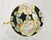 Orphan Teacup, Double Warrant Paragon Teacup ONLY, No Saucer, Black Yellow, Hand-Painted Yellow Poppies, British Tea, England, Replacement