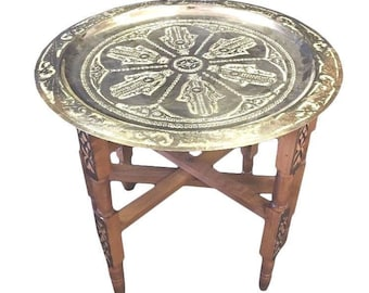 cheap moroccan furniture casbah decor moroccan khamsa hand tray top folding table silver metal xl 195 furniture etsy
