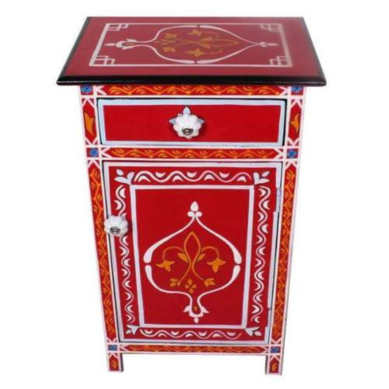 Moroccan Indian Nightstand End Table hand painted mango wood