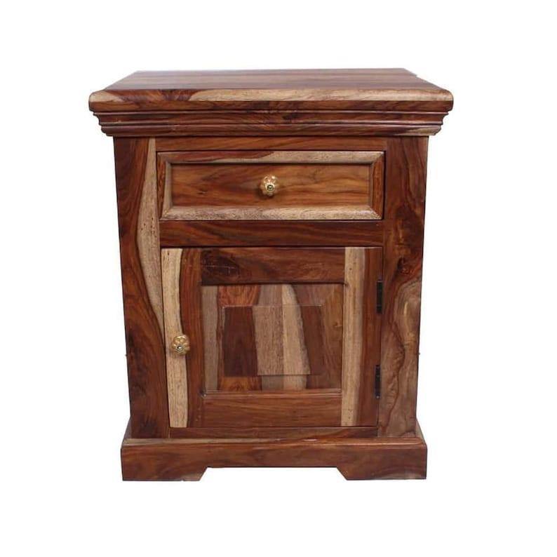casa moda table de chevet bois massif bout de canapé lampe | etsy