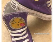 Emjoi Converse purple Converse girl Converse unisex shoes kids shoes purple shoes bedazzled shoes bling converse emjoi shoes ncredibow