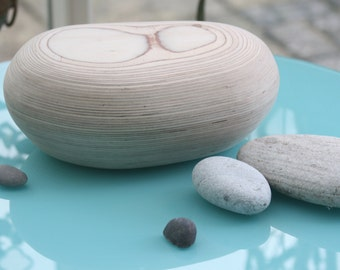 Wooden urn- handcrafted, unique, cremation or burial urn - a beautiful pebble shaped  urn