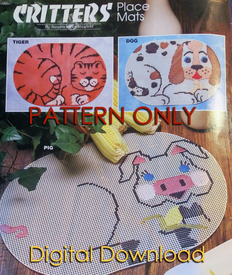 Critters Place Mats PLASTIC CANVAS download PDF pattern Digital Animals Cat Dog Pig Table Placemats
