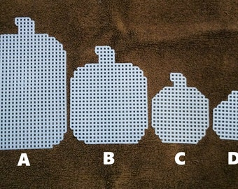 Plastic Canvas clear Cut Out PUMPKINS Needlepoint magnet decor ornaments party plant pokes Fun HALLOWEEN Fall Thanksgiving Autumn