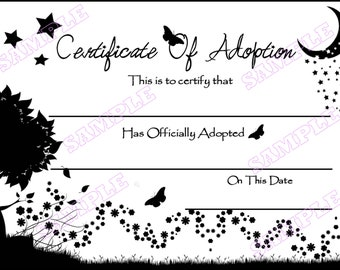 "Moon Stars CERTIFICATE OF ADOPTION Graphic You Print Reborn Baby pet child Animal Kids Fun prints on standard 8""x10"" printer paper Digital"