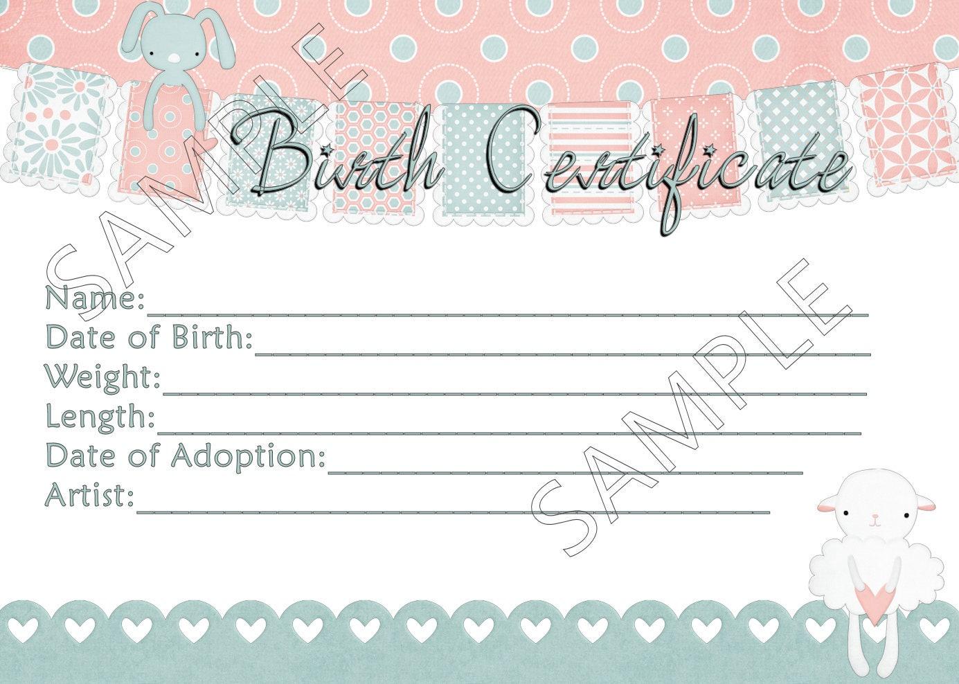 BUNNY Liebe Reborn Baby Puppe Geburtsurkunde Instant Download