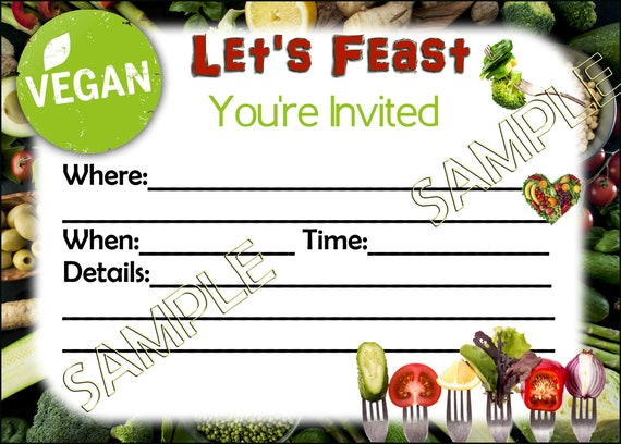 Let S Feast Vegan Dinner Party Birthday Invitation Card You Print 5x7 Your Invited Instant Digital Download Printables