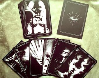 Major Arcana Tarot Card Set, Gothic black and white illustrations, occult portraits