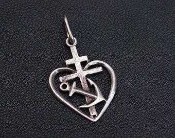 Vintage Sterling silver pendant Love Hope Faith