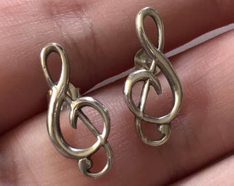 Vintage 925 Sterling Silver Bass Clef Music Earring Studs