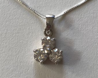 Petite Vintage White Cubic Zirconia Three Stone Trinity Clover 925 Sterling Silver Pendant Necklace