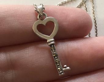 273796574366 Vintage Antique Style Key Marcasite Amethyst Pendant 925 Sterling Pd 139