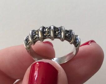Vintage Marcasite Stripe 925 Sterling Silver Band Ring
