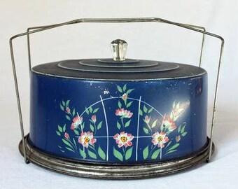 Blue Floral Cake Carrier