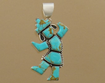 Rainbow Dancer Pendant, Native American made, sterling silver with Turquoise Mountain stabilized turquoise, handmade pendant